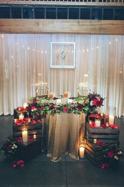 Romantic Sweetheart Table Red Florals With Candlelit Mood Inspiration Fall Wedding Ideas
