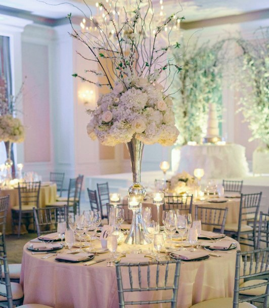 Romantic Tall Bouquet With Whimsical Branches Wedding Centerpiece Ideas