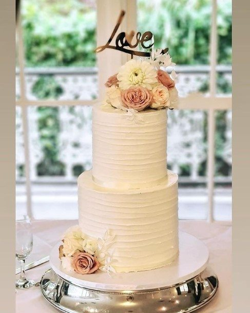 Rope Textured White Cake 2 Tier Wedding