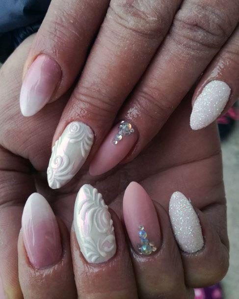 Rose And White Sugar Nails Women
