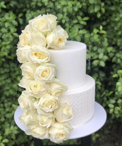 Rose Garland White 2 Tier Wedding Cake