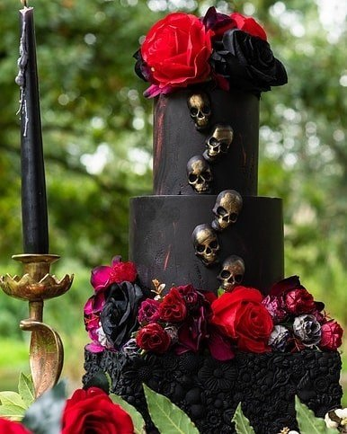 Rose Gold Skulls And Roses Halloween Wedding Cakes