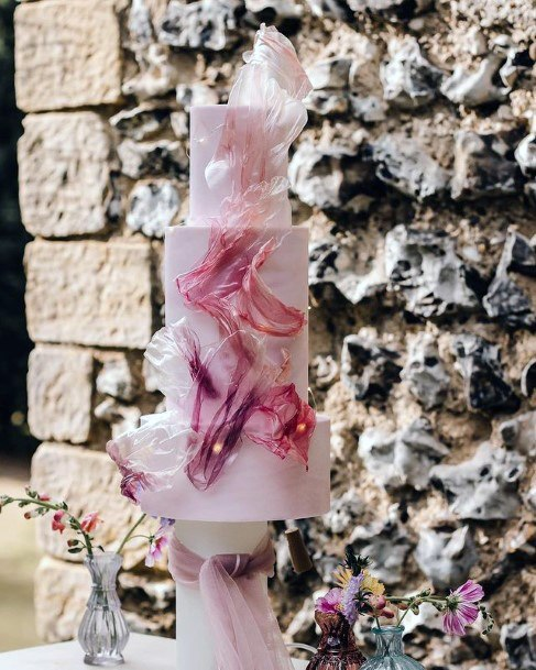 Rose Pink 3 Tier Wedding Cake Women