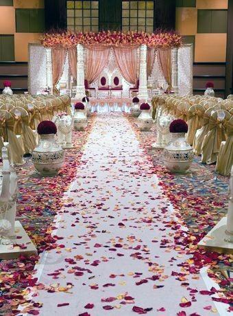 Rose Strewn Carpet Indian Wedding Decor