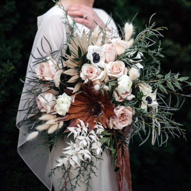 Roses And Green Boho Wedding Flowers Bouquet