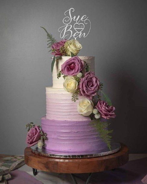 Roses And Purple Wedding Cake