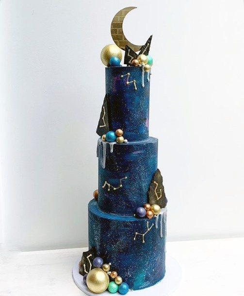 Roses And Spheres Art Wedding Blue Cake