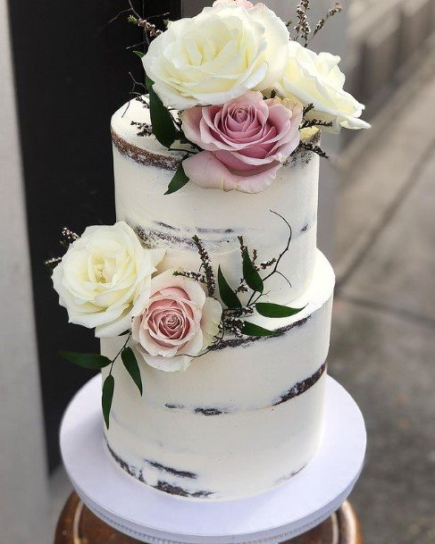 Roses Decor 2 Tier Wedding Cake White