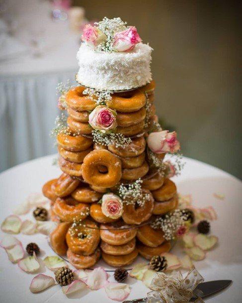 Roses On Donut Wedding Cake