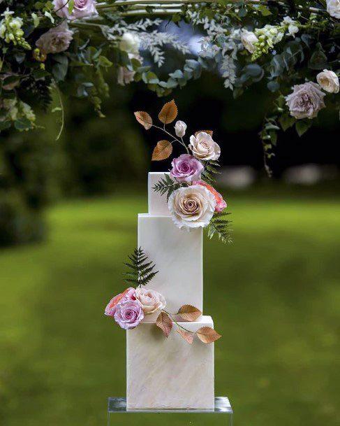 Roses On Square Wedding Cake