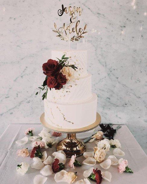 Roses On White Wedding Cake
