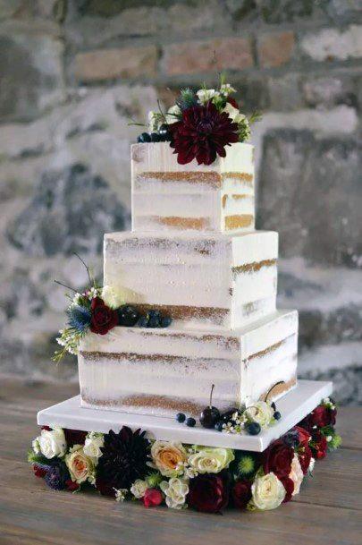 Roses Square Wedding Cakes White
