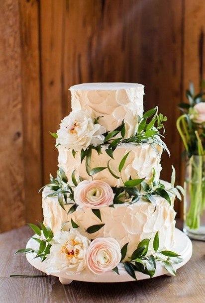 Roses White Wedding Cake