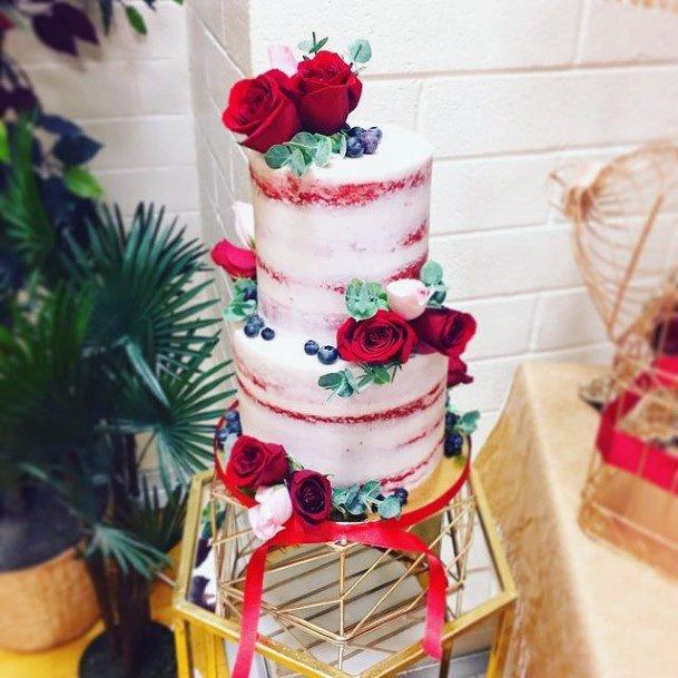 Rosy Pink Red Velvet Wedding Cake