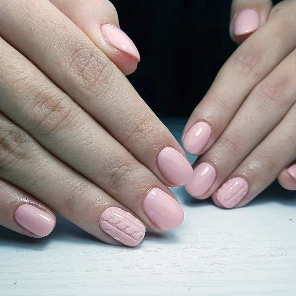 Rosy Pink Shellac Nails For Women