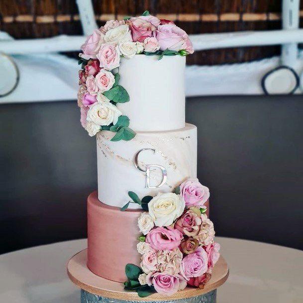 Rosy Pink White Wedding 3 Tier Cake Women