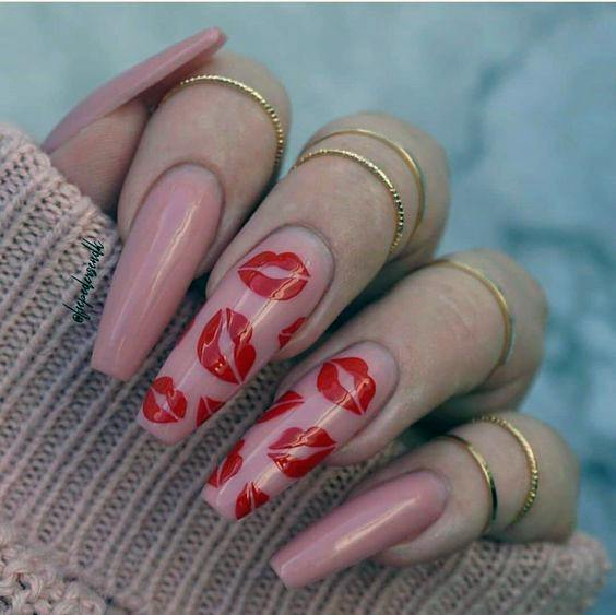 Rosy Red Lips Coral Romantic Nails Women