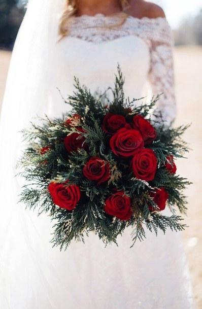Round Bunch Of Red Roses Christmas Wedding Flowers