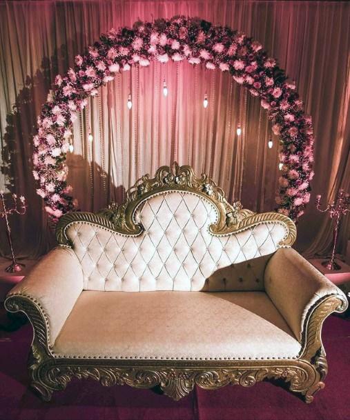 Round Purple Garland Love Couch Indian Wedding Flowers