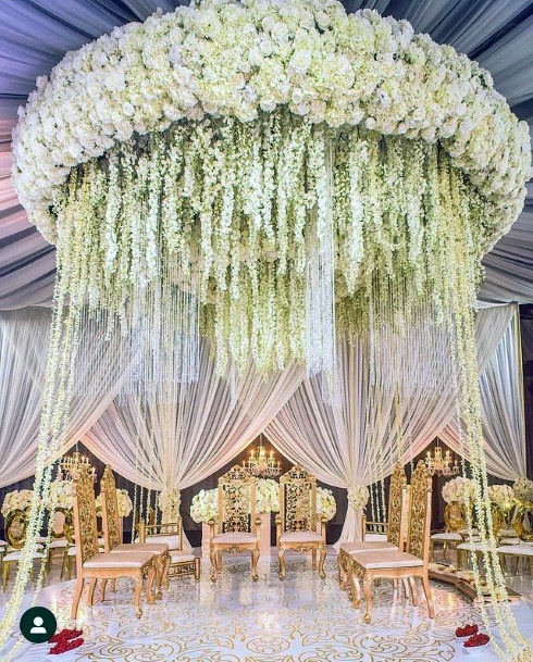 Round Royal White Ceiling Decor Indian Wedding Flowers Art