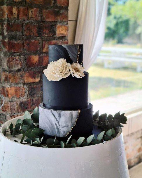 Royal Black Fondant 3 Tier Wedding Womens Cake