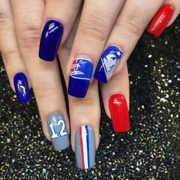 Royal Blue And Orange Sport Nails For Women