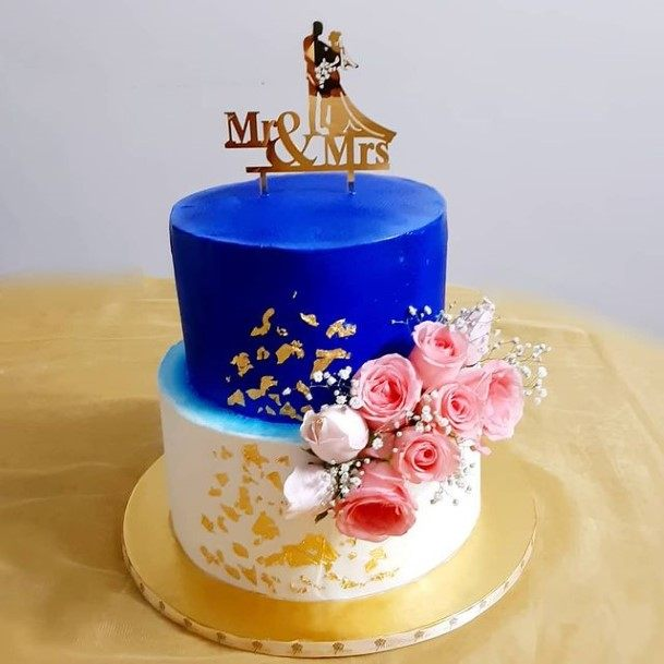 Royal Blue And White 2 Tier Wedding Cake