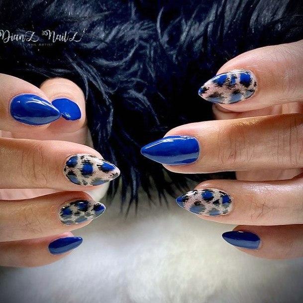 Royal Blue Leopard Nails Women