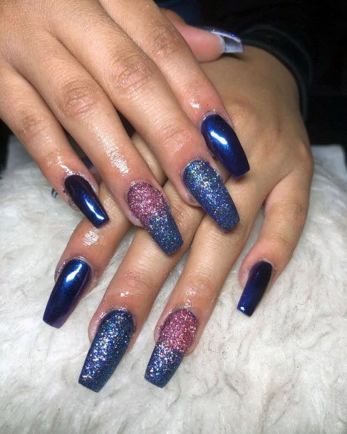 Royal Blue Sugar Nails And Glitter For Women