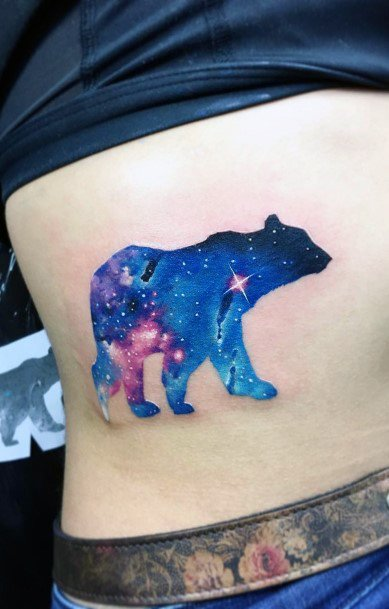 Royal Blue Universe In Bear Tattoo For Women