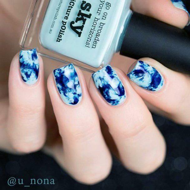 Royal Blue Water Nails Women