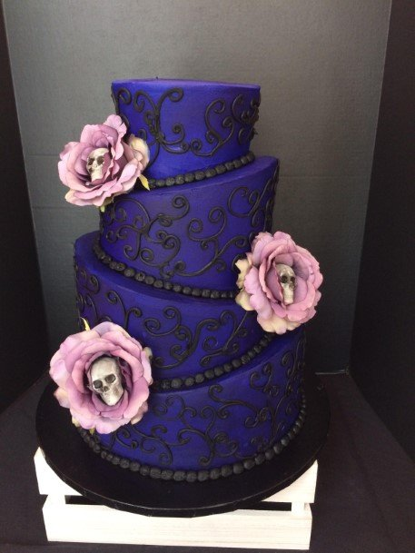 Royal Blue Wedding Cake Halloween With Skull And Roses
