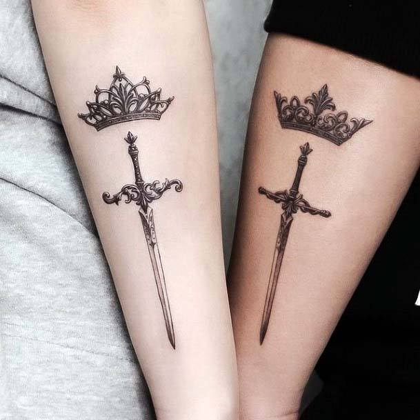 Royal Crown And Sword Tattoo Women