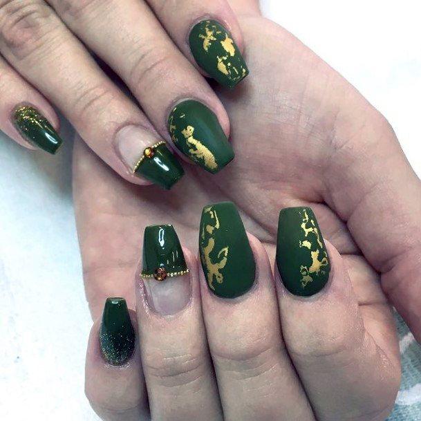 Royal Green Matte Nails With Golden Art Women