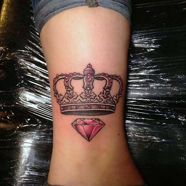 Ruby Red Crown Tattoo Women