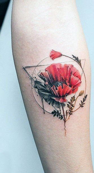 Ruby Red Flower And Geometric Tattoo Women