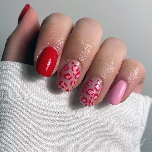 Ruby Red Leopard Print Nails Women