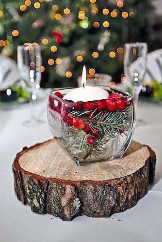 Rustic Christmas Inspired Floating Candle With Cranberries Wedding Centerpiece Ideas