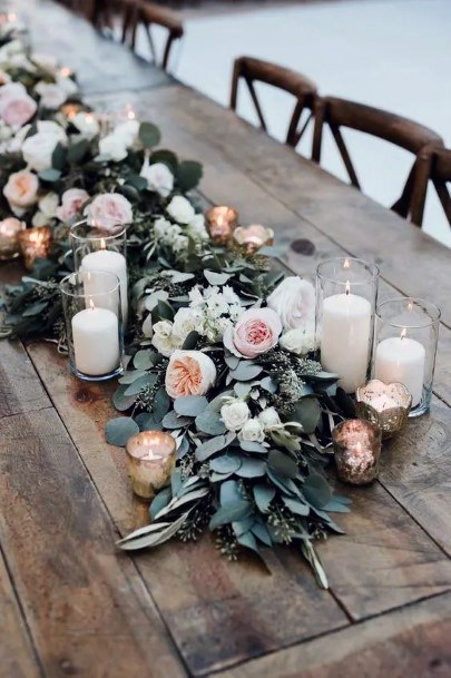 Rustic Garland With White And Pink Florals Wedding Centerpiece Ideas