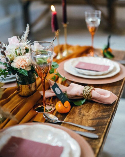 Rustic Napa Wood Tables With Blush Table Setting Decor Fall Wedding Ideas