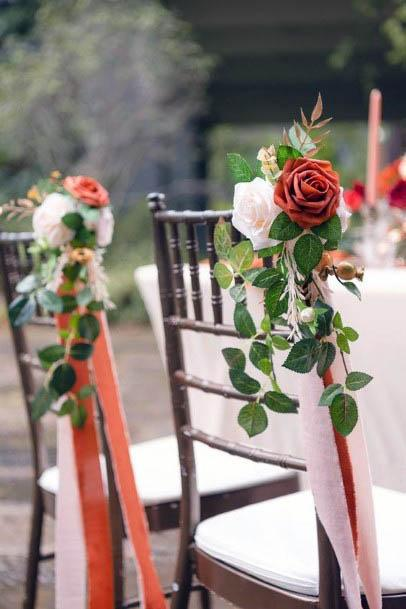 Rustic Red Rose Wedding Flowers Chairs