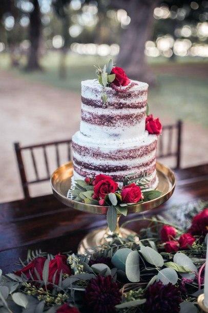 Rustic Wedding Cake And Christmas Wedding Flowers
