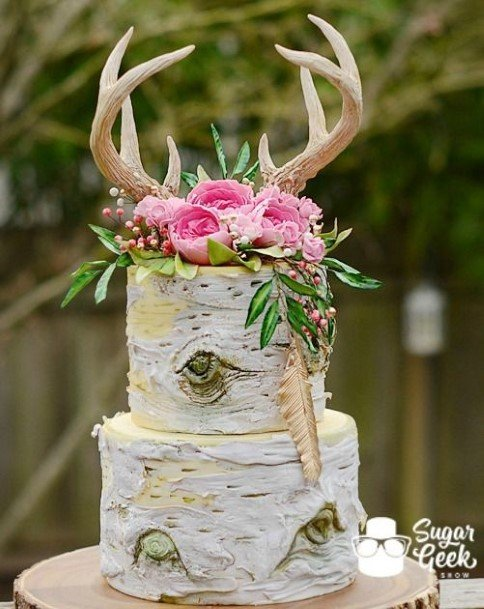 Rustic Wedding Cake Horns Toppers