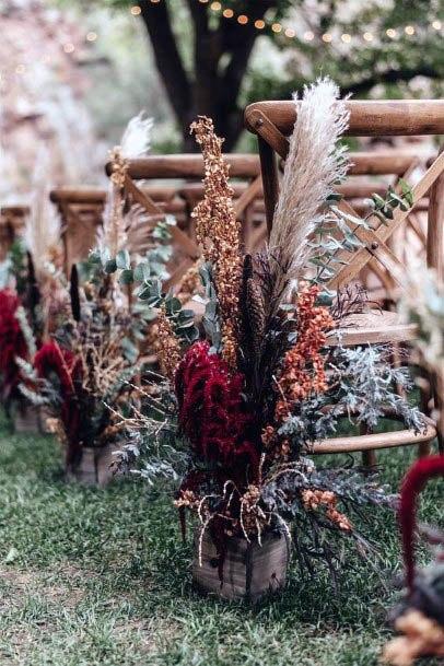 Rustic Wedding Flower Decor Chairs