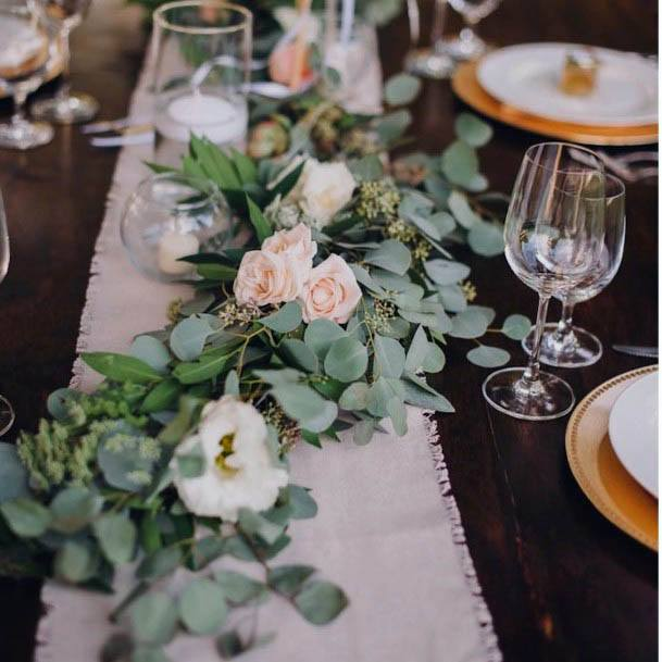 Rustic Wedding Flowers And Greens Table Decor