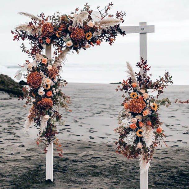 Rustic Wedding Flowers Edged Platform Decorations