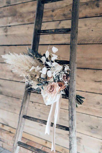 Rustic Wedding Flowers On Ladder