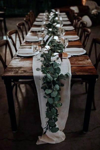 Rustic Wedding Flowers Table Runner