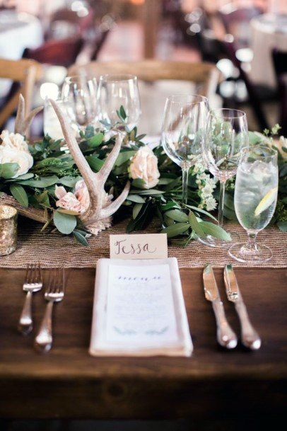 Rustic Wedding Ideas Antler Centerpiece Decorations With Greenery