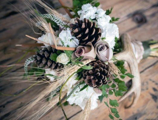 Rustic Wedding Ideas Bouquet With Pine Cones And Antlers Inspiration